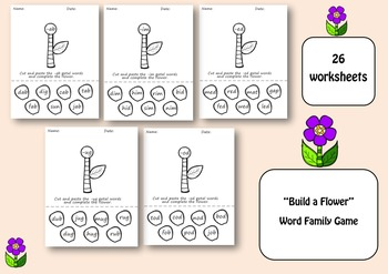 Build a Flower Word Family Game/ Worksheets for Pre-k and