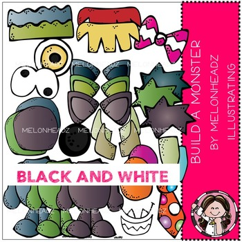 Melonheadz: Build a Monster clip art - BLACK AND WHITE