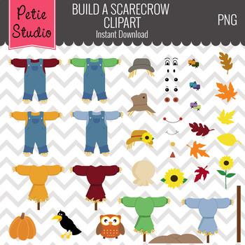 ON SALE Build a Scarecrow Clipart Set // Fall Harvest Clip