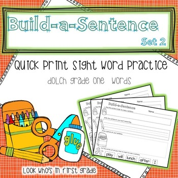 Build a Sentence Quickprint Sight Word Practice Pages: Gra