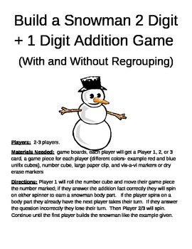 Build a Snowman 2 Digit +1 Digit Addition With and Without