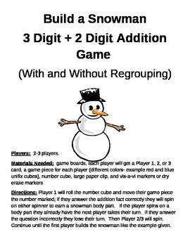 Build a Snowman 3 Digit + 2 Digit Addition With and Withou