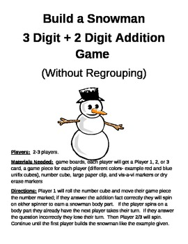 Build a Snowman 3 Digit - 2 Digit Subtraction Regrouping Games