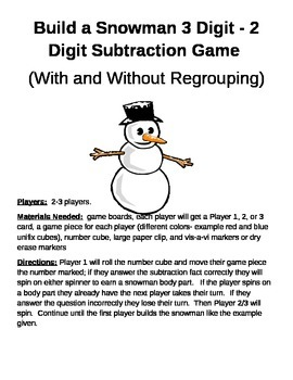 Build a Snowman 3 Digit - 2 Digit Subtraction With and Wit