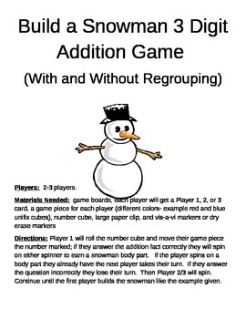 Build a Snowman 3 Digit Addition With and Without Regroupi