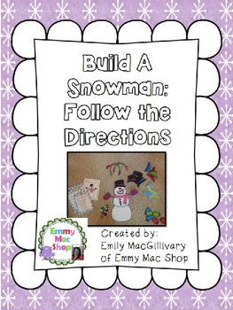 Build a Snowman: A Following Directions Activity