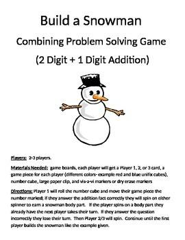 Build a Snowman Combining Word Problems 2 Digit + 1 Digit