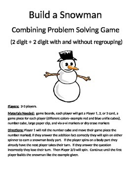 Build a Snowman Combining Word Problems 2 Digit Addition W