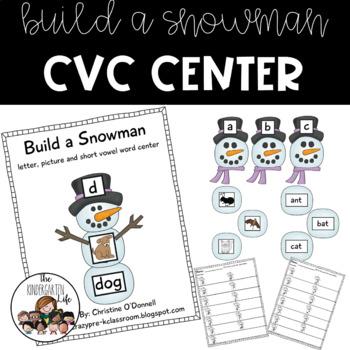 Build a Snowman Literacy Center: CVC picture word sort
