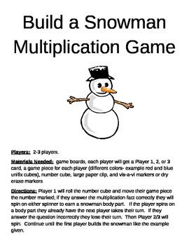 Build a Snowman Multiplication 2 Digit x 1 Digit Game