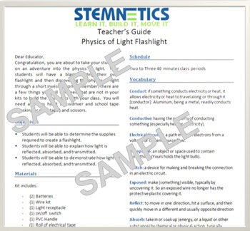 Build a flashlight and discover lights properties (NGSS 4t