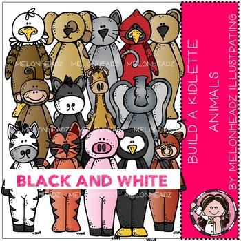 Melonheadz: Build a kidlette animals clip art - BLACK AND WHITE
