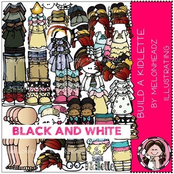 Melonheadz: Build A Kidlette clip art - BLACK AND WHITE