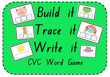 Build it, Trace it, Write it - CVC Word Activity with 72 G