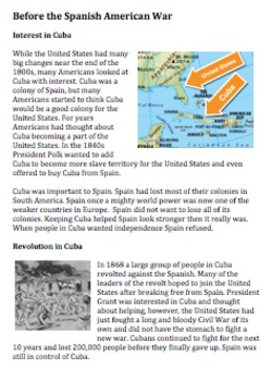 Build up to the Spanish American War Reading and Handout: