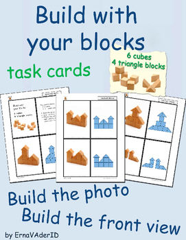 Build with blocks: 6 cubes and 4 triangle