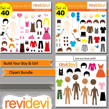 Build your boy and girl clip art bundle (3 packs)