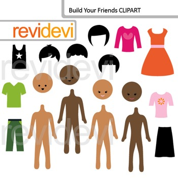 Build your friends clip art, mix and match