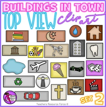 Birds eye view of buildings clip art - set 2