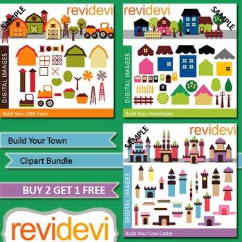 Build your town clip art (3 packs) farm, houses, castles