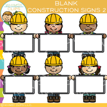 Builders with Blank Signs Clip Art - Set Two