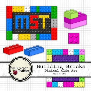 Building Bricks Digital Clipart Color