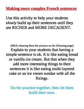 Building Sentences, Sentence Enrichment Practice work up t
