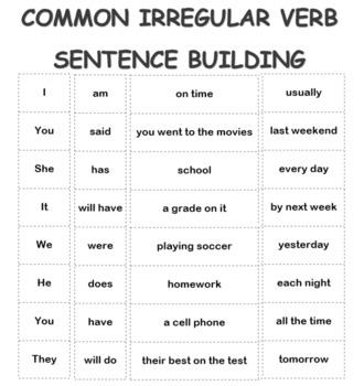 Building Sentences with Common Irregular Verbs: An activit