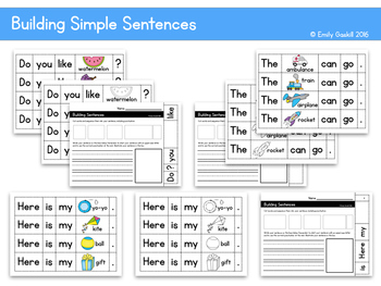 Building Simple Sentences with beginning sight words
