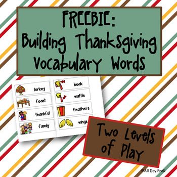 Building Thanksgiving Vocabulary Words: FREEBIE