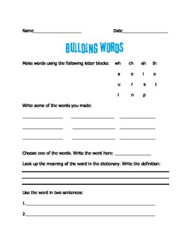 Building Words: CH, SH, WH, TH Blends