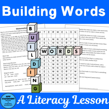 Building Words Lessons to Increase Literacy