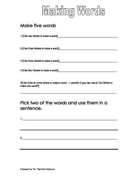 Building Words - Word Work Activity