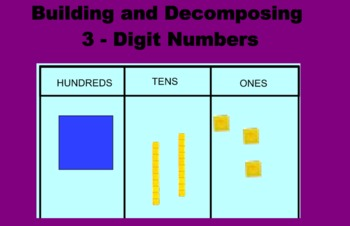 Building and Decomposing 3 Digit Numbers Smart Board Activity