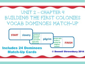 Building the First Colonies Dominoes Vocab Match-up Activity