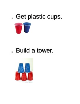 Building with plastic cups in the block center symbal chart