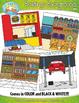 Buildings Interior Background Scenes Clip Art Set — Includ