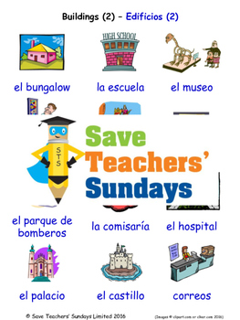 Buildings in Spanish Worksheets, Games, Activities and Fla