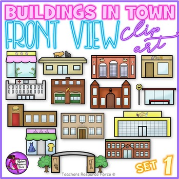 Buildings in town clip art (front view) set 1