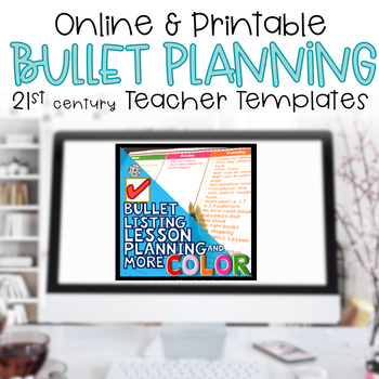 Editable Teacher Planner Bullet Lesson Plan Lists BRIGHTS
