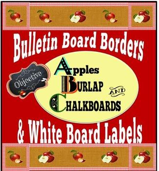 Bulletin Board Border Plus White Board Labels:  Apples, Bu