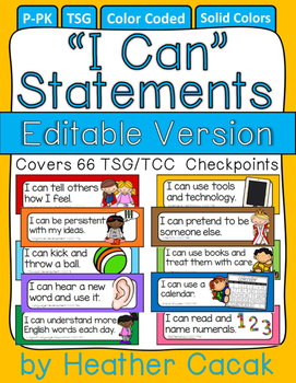 "Editable Bulletin Board ""I Can"" Statement Cards {TSG Head"