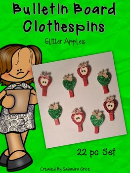 Bulletin Board Clothespins: Glitter Apple Clipables