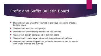 Bulletin Board Idea and explanation Prefixes and Suffixes