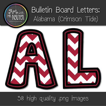 Bulletin Board Letters: Alabama - Crimson & White Chevron