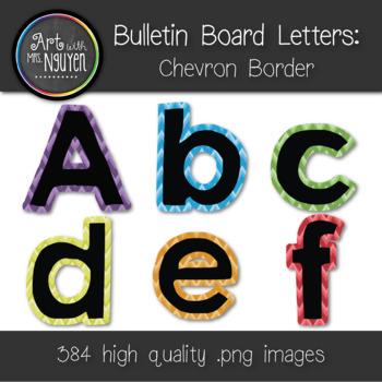 Bulletin Board Letters: Black with Colored Chevron Border