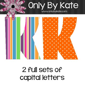 Bulletin Board Letters, Bubble Gum Stripes, Print Your Own
