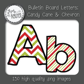 Bulletin Board Letters: Candy Cane and Chevron (Classroom Decor)