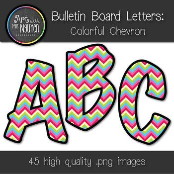 Bulletin Board Letters: Colorful Chevron (Classroom Decor)