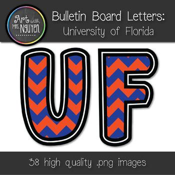 Bulletin Board Letters: Florida - Orange & Blue Chevron (C